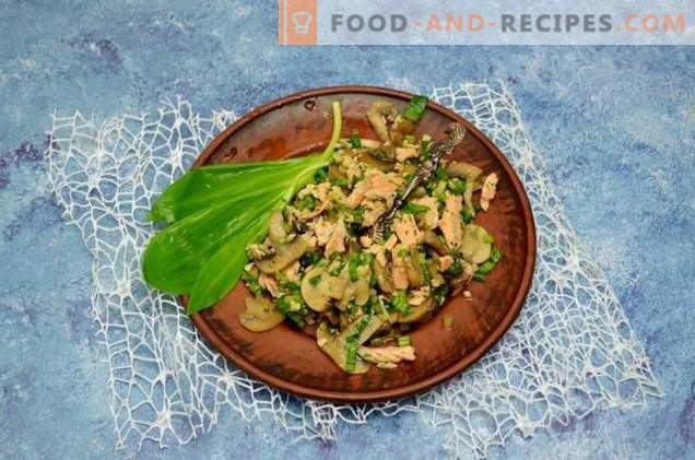 Spring salad with wild garlic, salmon and champignons
