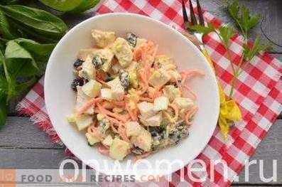 Chicken, prune and Korean carrot salad