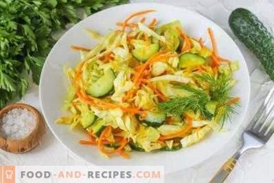 Saladas de repolho e cenoura