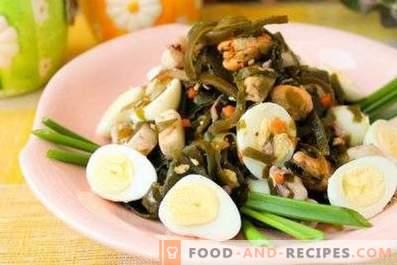 Salads with sea kale and egg